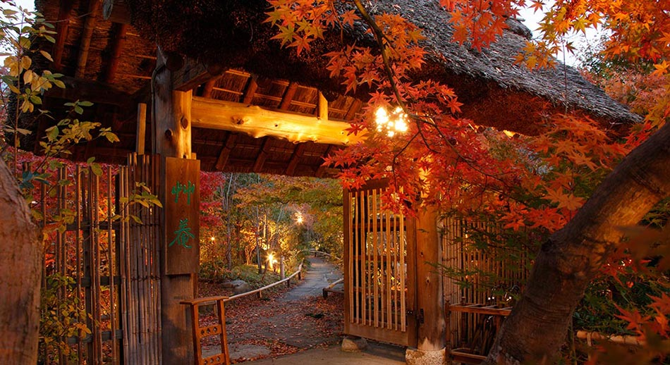 茅葺きの門・紅葉